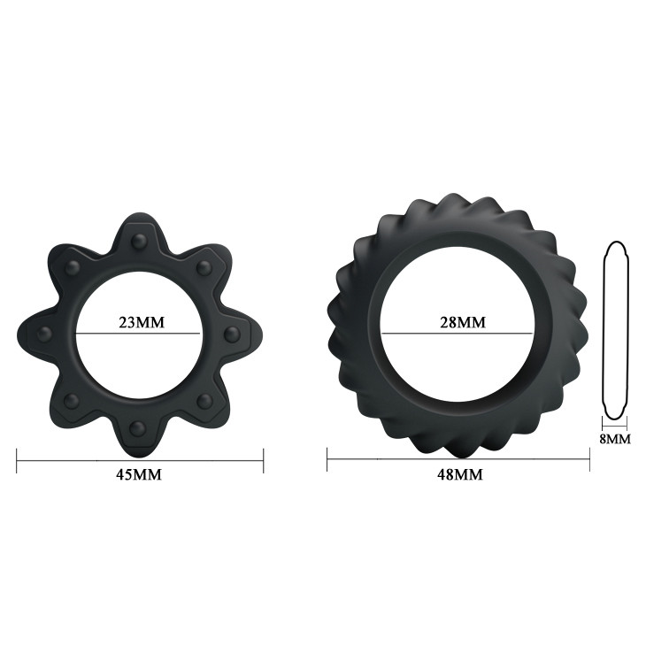 Набор из двух эрекционных колец, силикон черные