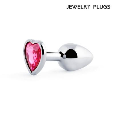 Анальная пробка сердце серебро с рубиновым кристаллом, Ø 28 мм