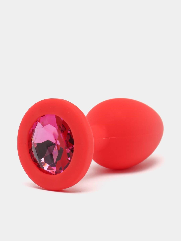 Анальная пробка красная, цвет кристалла розовый, силикон D42