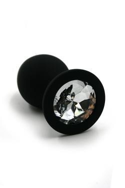 Анальная пробка черная, цвет кристалла прозрачный, силикон D28