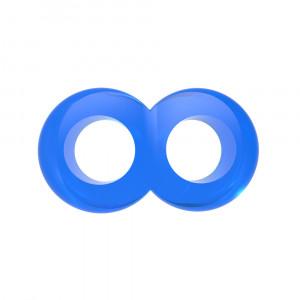 Эрекционное кольцо с подхватом мошонки COCK синее