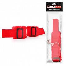 Наручники цвет красный с металлической цепью