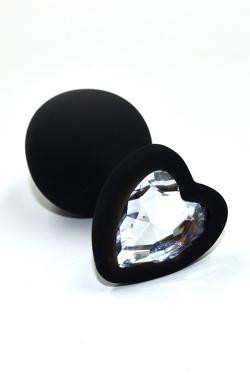 Анальная пробка черная силикон с прозрачным кристаллом сердце D 35