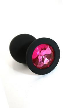 Анальная пробка черная, цвет кристалла розовый, силикон D35