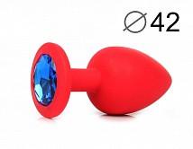 Анальная пробка красная, цвет кристалла синий, силикон D42