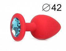 Анальная пробка красная, цвет кристалла голубой, силикон D42