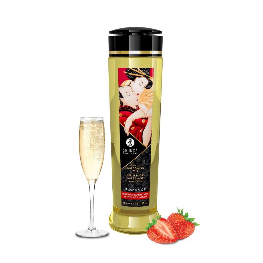 Масло Shunga Erotic Massage Oil Клубника в шампанском, 240 мл
