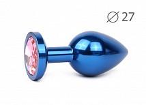 Металлическая пробка синяя с розовой стразой Ø 27 мм
