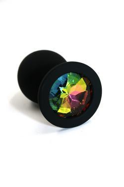 Анальная пробка черная, цвет кристалла разноцветный, силикон D35