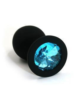 Анальная пробка черная, цвет кристалла голубой, силикон D28