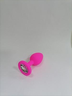 Анальная пробка розовая, цвет кристалла прозрачный, силикон D28