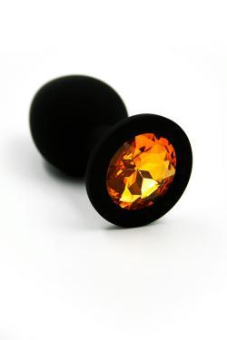 Анальная пробка черная, цвет кристалла желтый, силикон D28