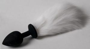 Анальная пробка черная с белым хвостом