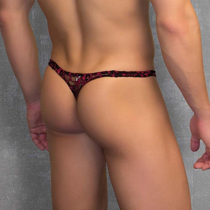 Кружевные мужские стринги черно-красные XS