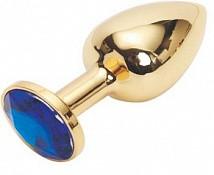 Анальная пробка золотая с синим кристаллом Ø 34 мм