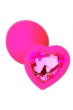 Анальная пробка розовая силикон с лиловым кристаллом сердце D 27