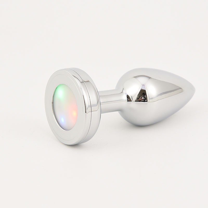 Анальная пробка серебро светодиодная Ø 32 мм