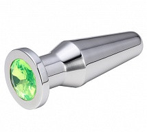 Анальная пробка серебро с зеленым кристаллом 10 см.